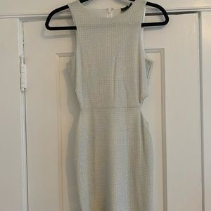 Mini white dress with silver threading